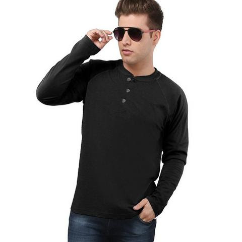 68012d73c66 Black Charcoal Henley Long Sleeves T-Shirt PSM-077 - Plus Size Clothing in  Pakistan