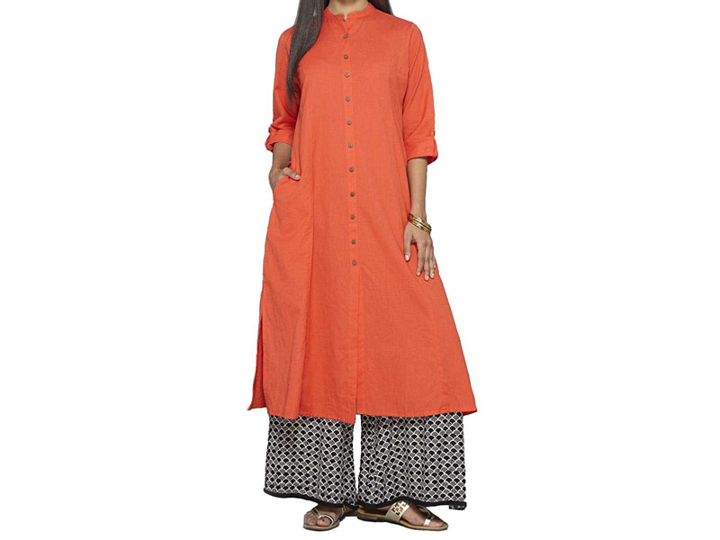 Plus Size Orange Front Open Button Style Kurti PSM-067 - Plus Size ...