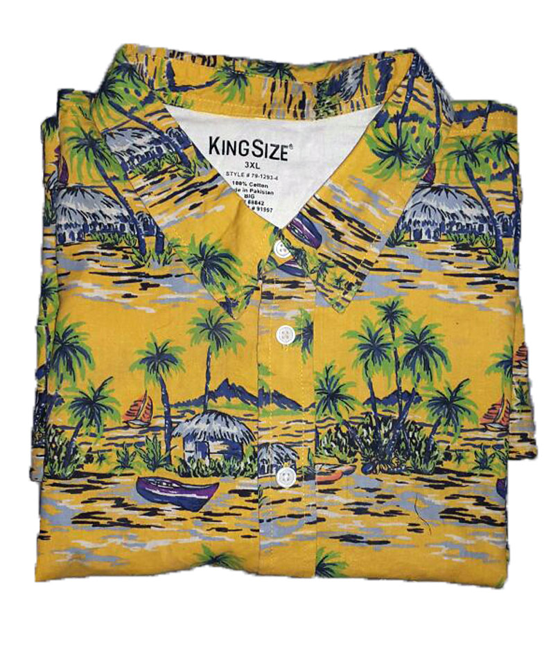 7a2a1c189ff Yellow Big Tropical Shirt PSM-132 - Plus Size Clothing in Pakistan
